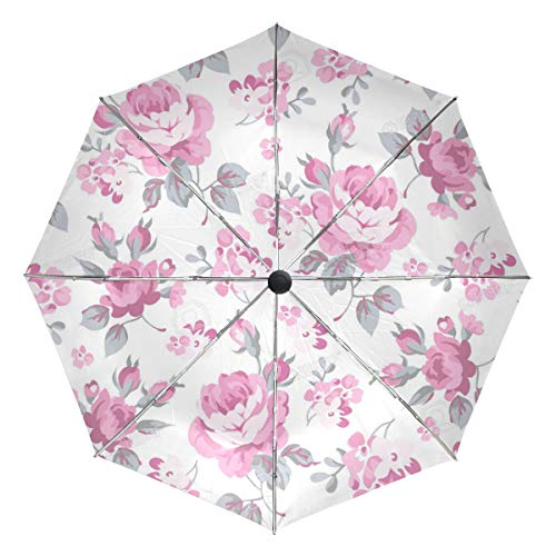 Price comparison product image Seamless Floral Pattern with Pink Rose and Grey Lightweight Umbrella Windproof,  Reinforced Canopy,  Ergonomic Handle,  Auto Open for Men Women