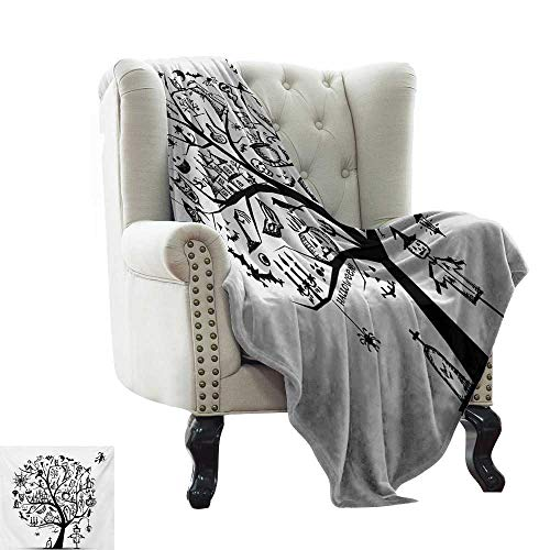 LsWOW Sand Free Beach Blanket Halloween,Sketchy Spooky Tree with Spooky Design Objects and Wicked Witch Broom Abstract,Black White Comfortable Soft Material,give You Great Sleep 60