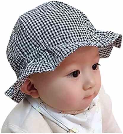 8504a17bb09 Sumolux Toddler Boy Girl Checked Pattern 2-in-1 Summer Sun Hat Bucket Hat