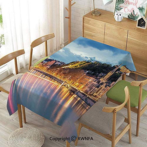 Tablecloth for Dining Room for Rectangle Tables,View of Saone River in Lyon City at Evening France Blue Hour Historic Buildings,Machine Washable,Multicolor,55