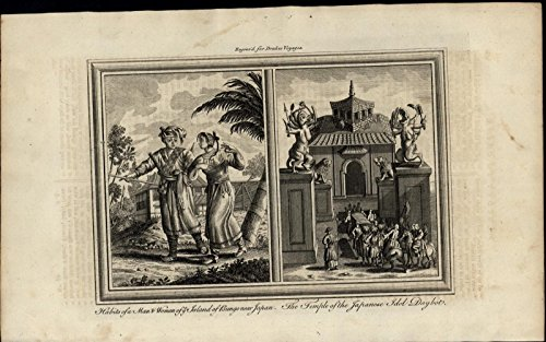 Japan Temple Idol Daybot Bungo Dress ca. 1780's fascinating old engraved print