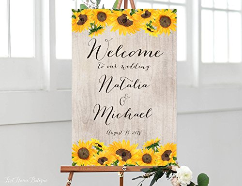 Wood Plaque Sunflowers Wedding Welcome Sign Rustic Welcome Wedding Sign Welcome To Our Wedding Sign and Sunflowers Welcome Sign 18