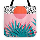 Society6 Whoa - Palm Sunrise Southwest California Palm Beach Sun City Los Angeles Retro Palm Springs Resort Tote Bag 18'' x 18''