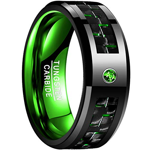 en Carbon Fiber Inlay Tungsten Carbide Ring Polished Finish Edges Size 12 ()