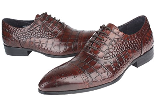 Shoes Print Brown Santimon Oxfords Alligator Men Formal Embossed For Dress by Leather FUwqAwd