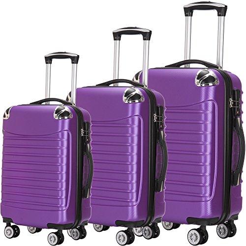 Purple Hardshell Case (Luggage Set 3 Piece ABS Trolley Suitcase Spinner Hardshell Lightweight Suitcases TSA)