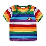 Mud Kingdom Boys T-Shirts Short Sleeve Rainbow Stripe 7/8
