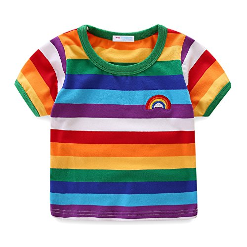 Shorts T-shirt Rainbow (Mud Kingdom Boys T-Shirts Short Sleeve Rainbow Stripe 7/8)
