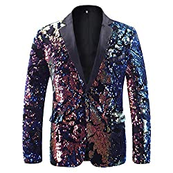 Men's 1 Button Reversible Sequins Coat