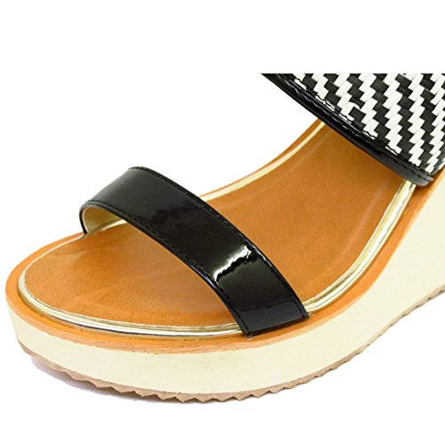 Platform Dolcis Sandals Ankle Black Toe Shoes 8 Ladies 3 Sizes Wedges White Peep fIdRRqw