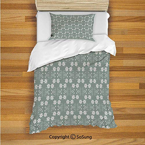 SoSung Garden Kids Duvet Cover Set Twin Size, Artistic Baroque Style Inspired Delicate Daisy Flower Petals and Dots 2 Piece Bedding Set with 1 Pillow Sham,Light Sage Green White ()