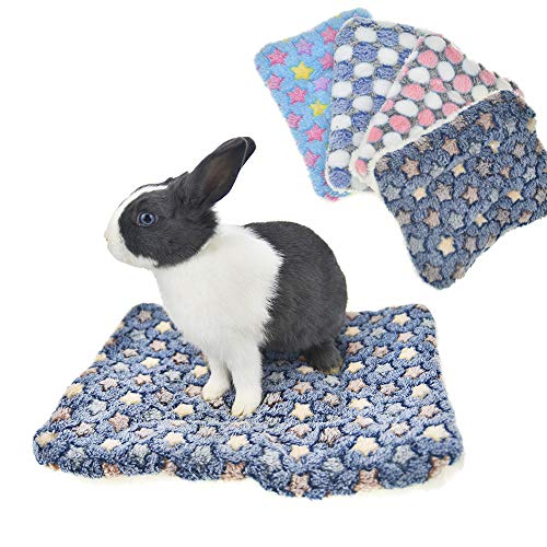 FLAdorepet Fleece Rabbit Guinea Pig Hamster Bed Pad for Squirrel Hedgehog Chinchilla Small Dog Cat Bed mat House Nest Hamster Cage Accessories (M(13.7