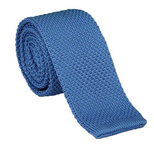 Narrow Ties Silk Blue (Secdtie Mens Kids Woven Silk Sky Blue Skinny Tie Modern Slim Narrow Knit Necktie)