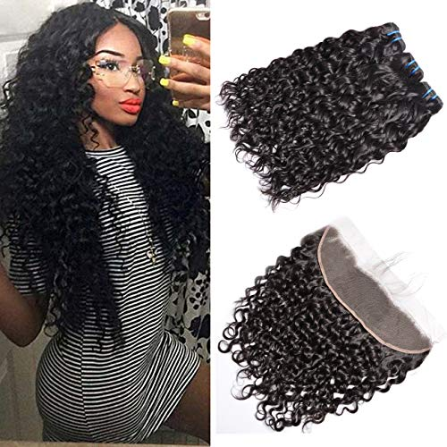Brazilian Water Wave Bundles With Frontal, GEM Beauty Supply Hair 12 14 16 With 12 Inch Lace Frontal Closure 3Bundles With ()