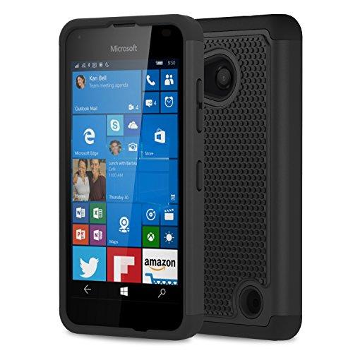 MoKo Lumia 550 Case - [Anti Drop] Hard Polycarbonate + Silicone Protector Bumper Cover for Microsoft Lumia 550 4.7 Inch Smartphone 2015 Release, BLACK