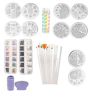 MagiDeal Nail Art Set - 5PCS Dotting Painting Pen, 10PCS Stamping Image Plate, 15Pcs Painting Brush, 2 Bag Rhinestones, 1 Stamper and Nail Paint Pen
