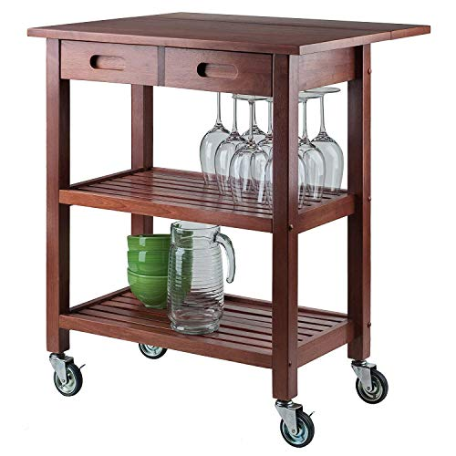 Walnut Kitchen Island Cart Wheels Drop Leaf Top Drawers Display Storage Shelves Rolling Utility Shelf Furniture Table Home Office Wooden Rack