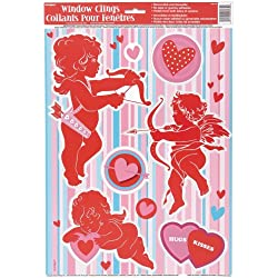 Hearts & Cupid Valentine's Day Window Cling Sheet