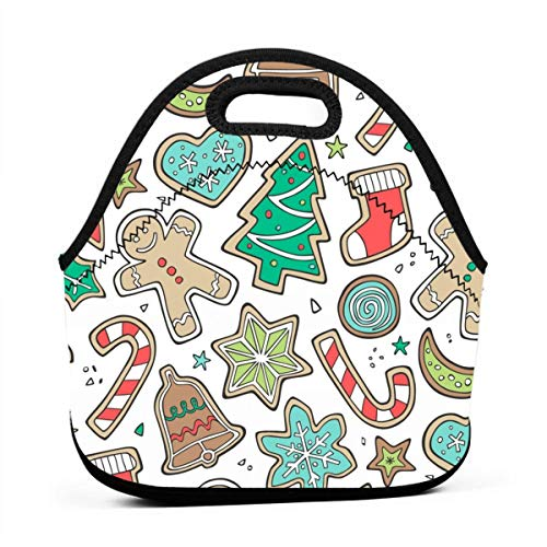 Christmas Xmas Holiday Gingerbread Man Cookies Winter Candy Treats On White_754 Waterproof Insulated Lunch Portable Carry Tote Picnic Storage Bag Lunch box Food Bag Gourmet Handbag For School Office