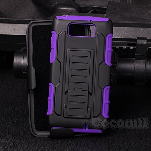 Motorola DROID Maxx / DROID Ultra Case, Cocomii Robot Armor NEW [Heavy Duty] Premium Belt Clip Holster Kickstand Shockproof Bumper [Military Defender] Full Body Rugged Cover XT1080 XT1080M (Purple) - Cell Phone Case For Motorola Maxx