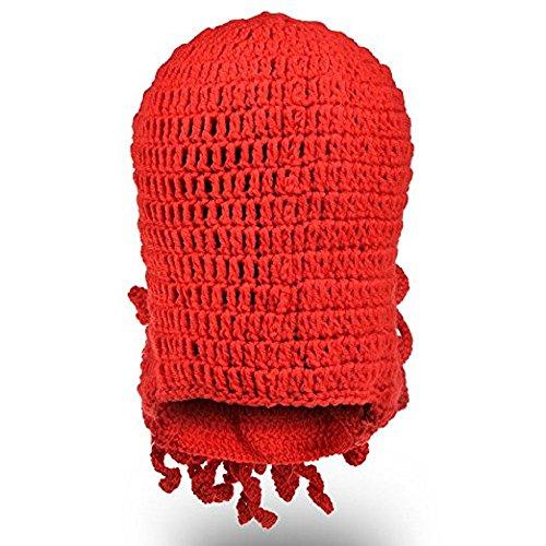 Moda MOONPOP a Red Mano de Tejida Red Sombrero Prueba Hat Unisex Estilo Pulpo Octopus A Viento de BF0rq4FwA6