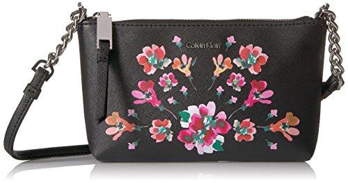 Calvin Hayden Key Floral Saffiano Klein Crossbody Leather Item Blk 11BcwUrqaA