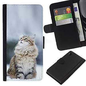 LECELL--Cuero de la tarjeta la carpeta del tirón Smartphone Slots Protección Holder For Sony Xperia Z2 D6502 -- CAT NIEVE NORUEGO --