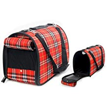 EchoAcc® Plaid Pet Outdoor Carrier Cat Dog Comfort Travel Bag Durable and Breathable Full Zipper Cute Case (Red)