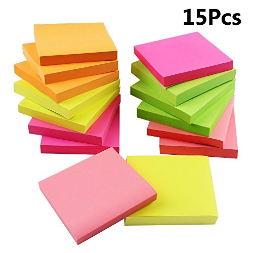 "Outuxed 16Pcs Colorful Sticky Notes, Memo Notes, Self-stick Notes, Lined,3""x3"", 80 Sheets/Piece, 4 Colors (15 pieces 5 colors) by Outuxed"