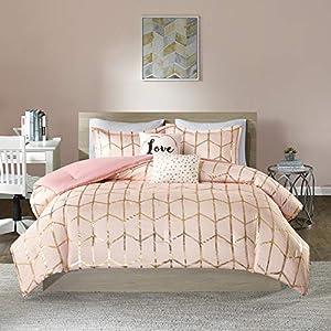 Intelligent Design Raina Comforter Set Metallic Print Geometric Design, Modern Trendy All Season Bedding Set, Matching…