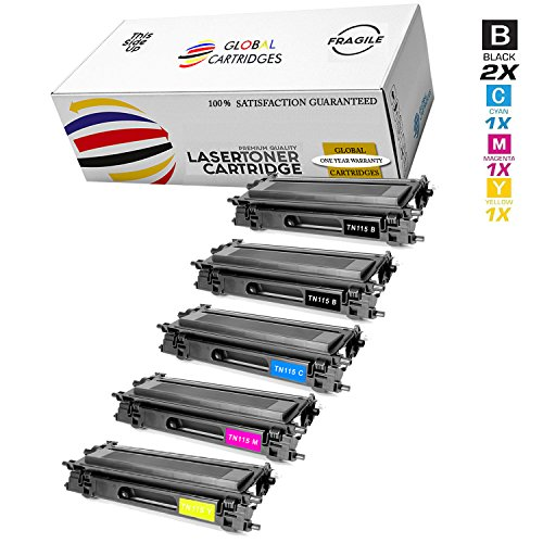 GLB Premium Quality Remanufactured Replacement Toner Cartridge Set With Additional Black for Brother TN115 ( 5-Pack)
