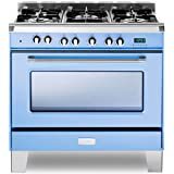 Verona VCLFSGE365BL 36 Dual Fuel Single Oven Range in Light Blue
