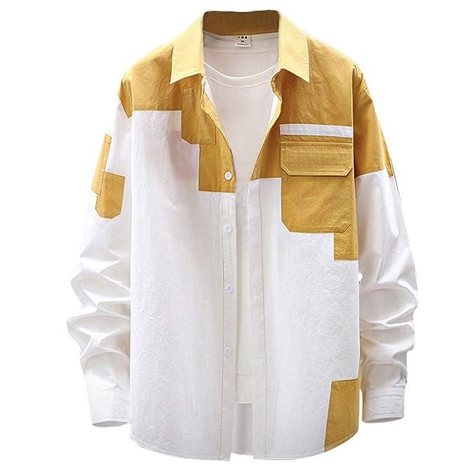 CAOQAO Camisa Hombre Ocio Trajes de Moda a Gran Escala ...