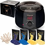 Wax Hair Removal Kit Best - Lementa Wax Warmer Hair Removal Kit - Your Secret to Silky Smooth Skin | Pure Gem Wax Beans | Painless Waxing at Home For Women & Men | Cera Para Depilar (Standard)