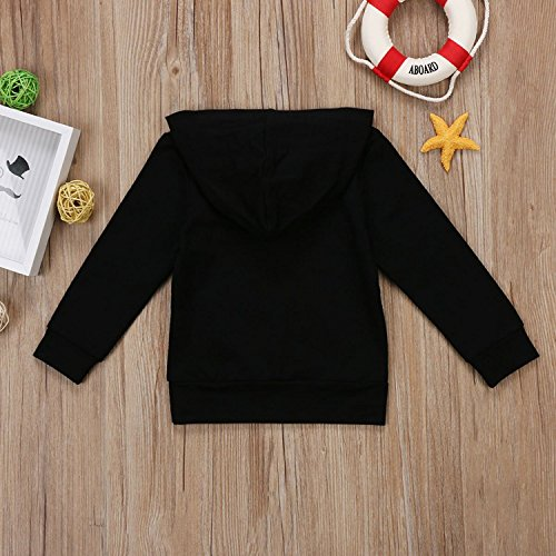 Funnycokid Toddler Infant Baby Boys Girls Hoodie Tops Casual Baby Clothes with Kangaroo Muff Pockets Black 2-3 T by Funnycokid (Image #3)