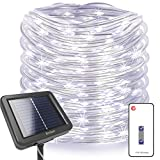 Homestarry 100ft 300LEDs Solar Powered Fairy Lights String Lights, 8 Modes Remote, Tangle-Free Decorative Rope Lights, IP65 Waterproof Solar Lights for Outdoor,Garden,Patio,Party,Christmas(Cool White)
