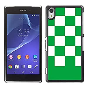 Graphic4You Checkered Pattern Design Hard Case Cover for Sony Xperia Z2 (Green)