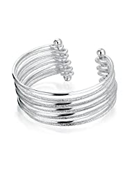 Bling Jewelry Stardust Sparkle Bangle Stacked Cuff Bracelet Silver Plated