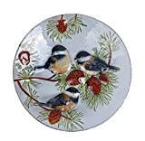 Continental Art Center Three Chickadees and Pine Cones Glass Plate, 18-Inch