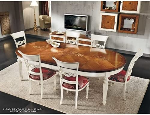 Mesa redonda extensible bicolor madera maciza: Amazon.es: Hogar