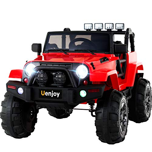 Uenjoy Ride on Car 12V Battery Power Children's Electric Cars Motorized Cars for Kids with Wheels Suspension,Remote Control, 4 Speeds, Head Lights,Music,Bluetooth Remote Controller,Red
