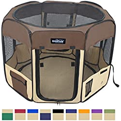 "EliteField 2-Door Soft Pet Playpen, Exercise Pen, Multiple Sizes and Colors Available for Dogs, Cats and Other Pets (48"" x 48"" x 32""H, Brown+Beige)"