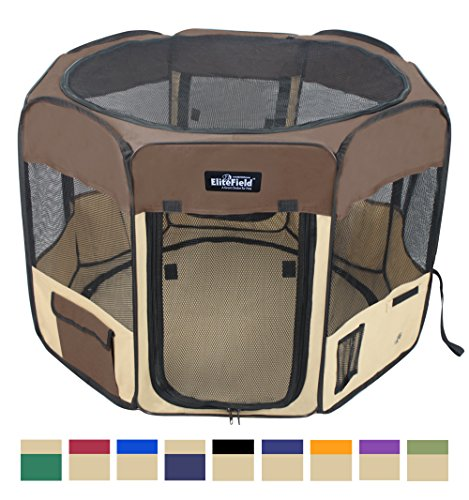 EliteField 2-Door Soft Pet Playpen, Exercise Pen, Multiple Sizes and Colors Available for Dogs, Cats and Other Pets (42'' x 42'' x 24''H, Brown+Beige) by EliteField