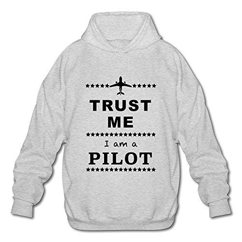 PNHK Men's Trust Me I Am A Pilot Hooded Sweatshirt X-Large Ash