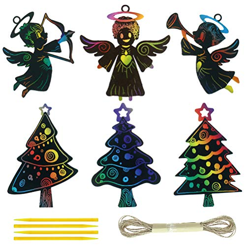 CREATRILL 30 PCS Christmas Scratch Art for Christmas Tree Angel Ornaments Magic Color Scratch Craft Kits for Kids Christmas Party Favor with 15 Scratching Sticks -