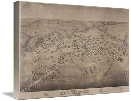 Wall Art Print entitled Vintage Pictorial Map Of San Marcos Texas (1881) by Alleycatshirts @Zazzle | 24 x - San In Texas Marcos