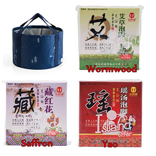 (3 Favors of Foot Reflexology Chinese medicine foot bath powder kits cold blood WITH 1X Foldable bucket, Wash Basin Water Container (Wormwood, Saffron, Yao with Dark blue bucket))