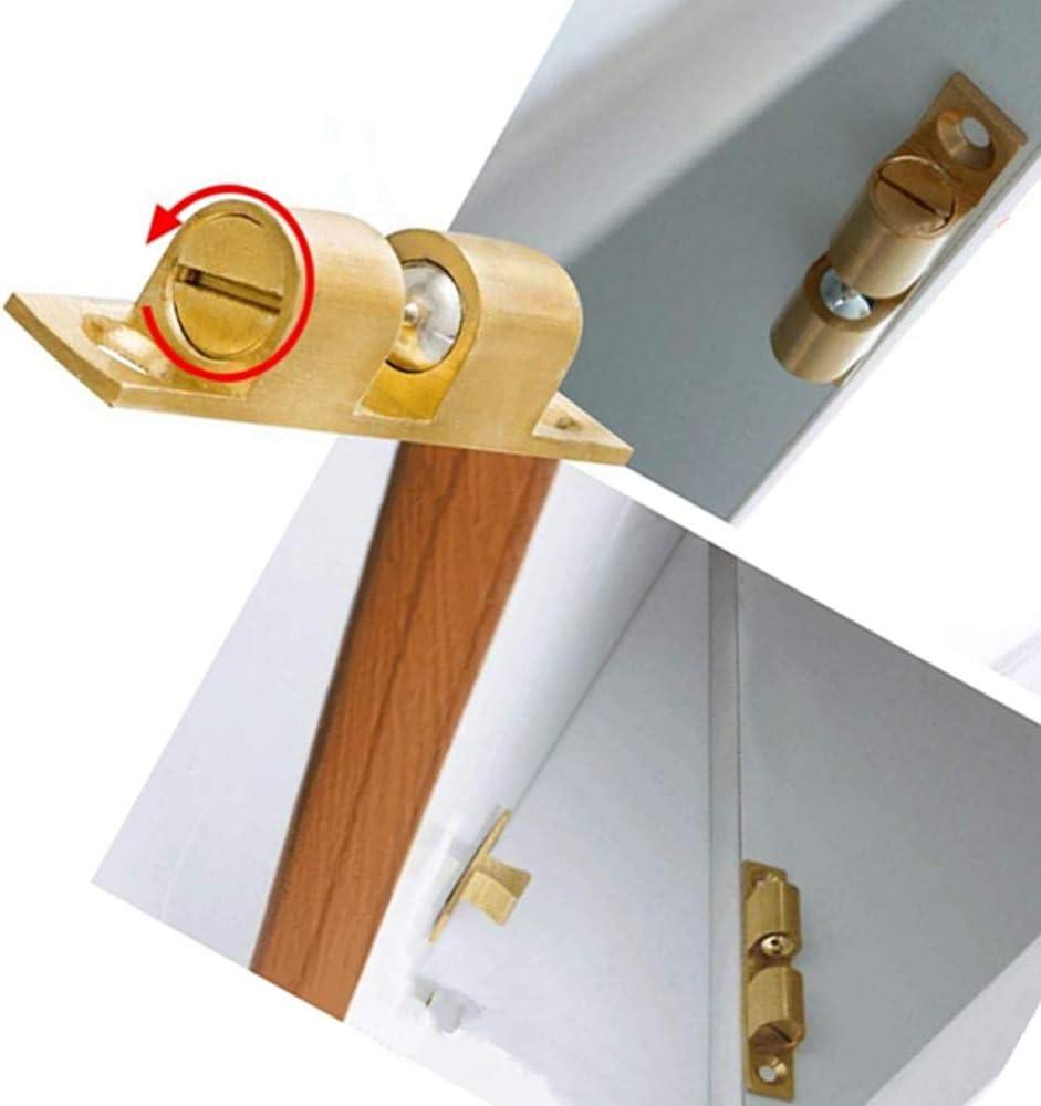 6 piezas de 50 mm doble rodillo de lat/ón resistente para puerta de armario o armario con bolas de rodillo de bloqueo fuerte para armario