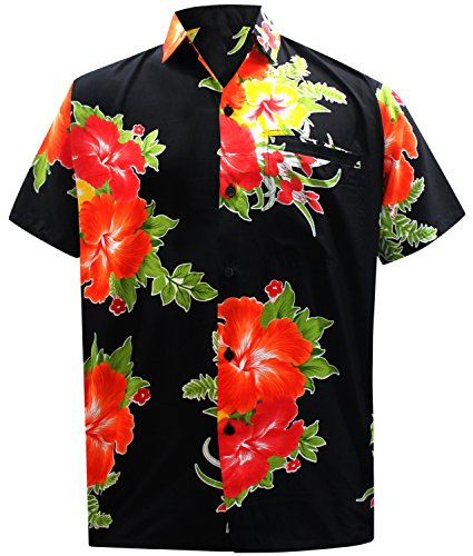 LA LEELA Shirt Casual Button Down Short Sleeve Beach Shirt Men Aloha Pocket 155