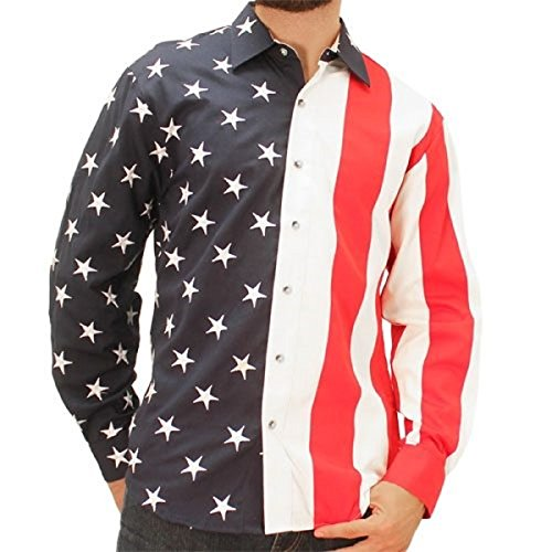 The Flag Shirt Men's Woven Long Sleeve American Button Down Big and Tall (2XLT, (Embroidered Banded Bottom Shirt)